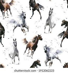 Hand drawn. Watercolor  illustration. Cute cartoon. Seamless pattern. Horses white and dark brown. Mustang wild Arabian.  White background. Pastel color. For cloth, linen and other texture.
