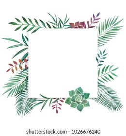 Hand drawn watercolor illustration of differents plants. Decorative graphic frame for wedding branding, invitations, gift card. Isolated on white background. Place for text.