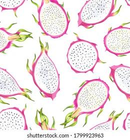 Hand drawn watercolor illustration of dragon fruits pitaya seamless pattern.