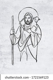 Hand drawn watercolor illustration or drawing of Jesus Christ Good Shepherd with sheep