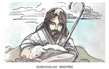 Hand drawn watercolor illustration or drawing of Jesus Christ Good Shepherd hugging a sheep