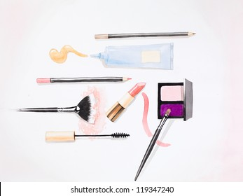 hand drawn watercolor illustration of essential makeup products for a woman, on white background