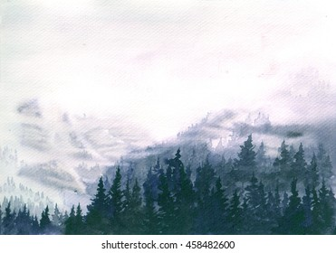 Hand Drawn Watercolor Illustration of Foggy Landscape. Mountains covered mity forest