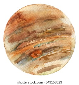 Hand drawn watercolor illustration of gas giant Jupiter planet.