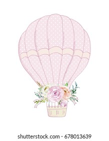 Hand drawn watercolor illustration. Hot air balloon and bouquet of flowers in pastel colors. Greeting card. Valentine's Day, Mother's Day, wedding, birthday