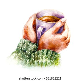 Hand drawn watercolor illustration. Hygge theme. Elements of home comfort.  Coffee cup in female hands isolated on white background. Aquarelle sketch.