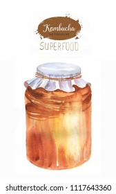 Hand drawn watercolor illustration with jar kombucha tea isolated on the white background. Super food.