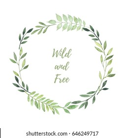 Hand drawn watercolor illustration. Laurel Wreath with leaves and branches. Perfect for wedding invitations, greeting cards, prints, postcards and more