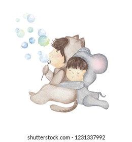 Hand drawn watercolor illustration of little kids in animal costumes. Kids as cat and mouse. Beautiful greeting card