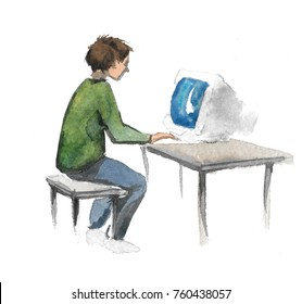Hand drawn watercolor illustration of lying man with personal computer