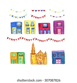 Hand drawn watercolor illustration of Mexican houses and church. Decoration of garland for the party or fest. Buildings with balconies and big windows. elements for decoration for postcards, city.