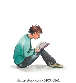 Hand drawn watercolor illustration of reading boy
