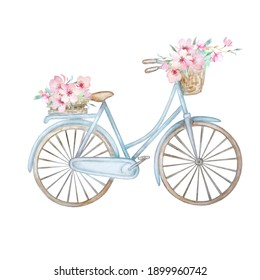 Hand drawn watercolor illustration - romantic blue bike with flower basket in pastel colors. City bike. Perfect for invitations, greeting cards, posters, prints.