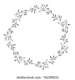 Hand drawn watercolor illustration. Round frame beautiful wreath with leaves, flowers, branches. Design for wedding invitations, greeting cards, save the date invitation, prints, postcards.