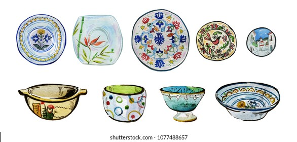 Hand drawn watercolor illustration set of ornamented ceramic plates, bowls and dishes on white background