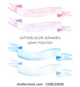 Hand drawn watercolor illustration set of painted ribbon banners pink purple light dark blue