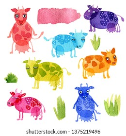 Hand drawn watercolor illustration set funny cartoon cows and grass: pink, blue, purple, orange, green isolated on white background