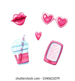 hand drawn watercolor illustration set of pink smartphone, glossy lips, cocktail and heart shaped glasses isolated on white. Love and valentines day design elements