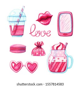 hand drawn watercolor illustration set of pink smartphone, glossy lips, cocktail drinks, sweets and heart shaped sunglasses isolated on white background. Concept of love and valentine's day design