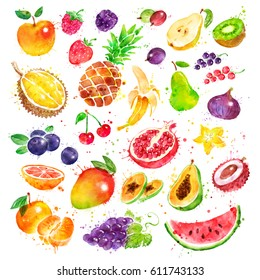 Hand drawn watercolor illustration set of fruit with paint splashes.