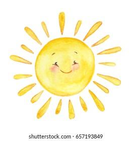 Hand drawn watercolor illustration of  smiling sun.
