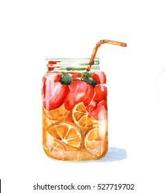 Hand drawn watercolor illustration of summer fresh cocktail with strawberries and orange. Isolated on the white background. Design for pub menu, beer house, brewery poster, label or logo.