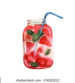 Hand drawn watercolor illustration of summer fresh cocktail with strawberries and orange. Isolated on the white background.