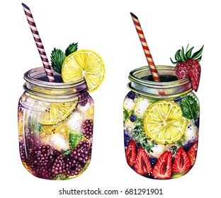Hand drawn watercolor illustration of summer fresh cocktail with blackberry, lemon, lime, strawberry, blueberry, ice, mint, rosemary. Set of fresh drinks. Isolated on the white background.
