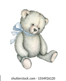 Hand drawn watercolor illustration of Teddy Bear. Great for old-fashioned designs, greeting cards