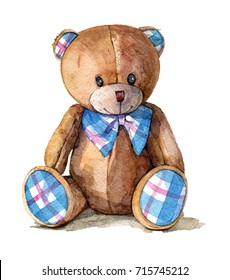 Hand drawn watercolor illustration of teddy bear. Design element for cards, invitations, logos.