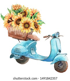Hand drawn watercolor illustration of vintage motorbike with basket of sunflowers