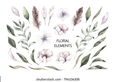 Hand drawn watercolor illustrations. Botanical clipart. Set of green leaves, herbs, flowers and branches. Floral Design elements. Perfect for wedding invitations, greeting cards, blogs, posters