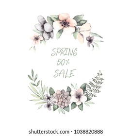 Hand drawn watercolor illustrations. Spring Laurel Wreath with flowers, fern and green leaves. Floral design elements. Perfect for wedding invitations, greeting cards, blogs, logos, prints