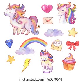 Hand drawn watercolor illustrations of vibrant magical creatures,  unicorn, rainbow, cat, heart, cupcake. Collection of drawings for children, fairy tale isolated cliparts
