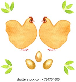 Hand drawn watercolor image of two identical chickens, three eggs and groups of leaves. White background. Simple painting, no details