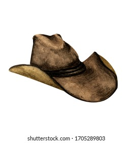 hand drawn watercolor isolated one dark brown leather cowboy hat on a white background.