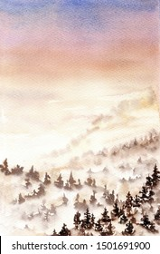 Hand drawn watercolor landscape. Sunset sky and mountains with forest trees in fog. Design for invitation, greeting card, poster, banner, cloth, wedding. empty space for text