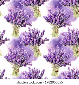 Hand drawn watercolor lavender banch seamless pattern with watercolor spine on white background.