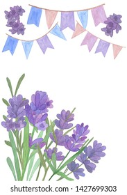 Hand drawn watercolor lavender flowers and flags card layout on the white background, lavender flowers watercolor illustration, symbol of French Provence, greeting card and invitation design