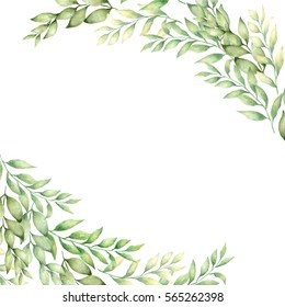 Hand drawn watercolor  leaves banner