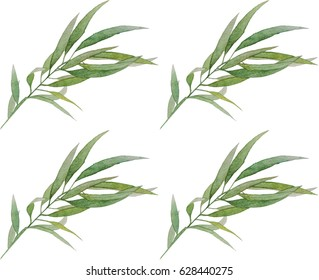 hand drawn watercolor leaves pattern background