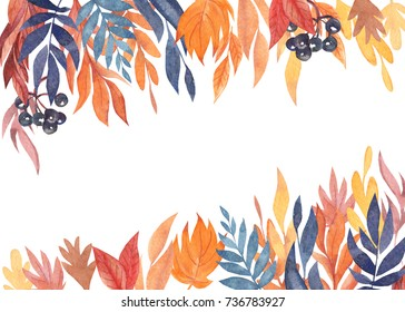 Hand drawn watercolor leaves of plants, autumn composition of multi-colored leaves, wild flower, greeting card with space for text on white background, invitation wedding card