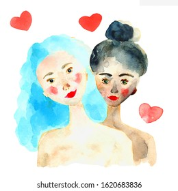 Hand drawn watercolor lesbian girls couple illustration. Romantic postcard with two homosexual lowers. Relationships between two women isolated on white background.