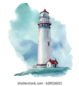 hand drawn watercolor lighthouse illustration. It's perfect for card, postcard, poster, banner.