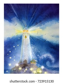 Hand drawn watercolor lighthouse.  Illustration for card, postcard, poster, banner. Starry night and Milky Way, a storm at sea. Fabulous, magical, fantasy, children's illustration, light, lamp.