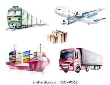 hand drawn watercolor logistics set