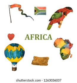 Hand drawn watercolor map of Africa with parrot and flag isolated on white.