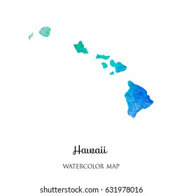 hand drawn watercolor map of Hawaii   isolated on white.