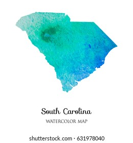 hand drawn watercolor map of South Carolina  isolated on white.