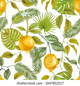 Hand drawn watercolor marker illustrations of yellow lemon fruits with philodendron leaf, fern frond, areca palm. Tropical seamless pattern